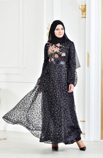 Robe de Soirée Bordée a Paillette 3148-01 Noir 3148-01