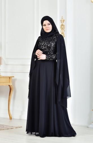 Payetli Abiye Elbise 3284-05 Siyah