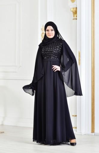 Robe de Soirée a Paillette et Ceinture 3293-03 Noir 3293-03