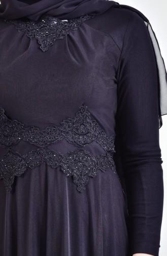 Geschnürtes Abendkleid mit Strassstein 6131-03 Schwarz 6131-03