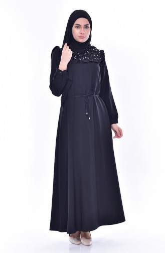 İncili Elbise 3032-04 Siyah