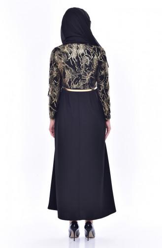 فستان بتصميم حزام للخصر 4464-04 لون اسود 4464-04