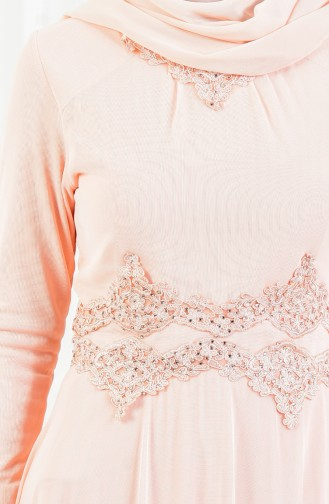 Rhinestone Laced Evening Dress 6131-06 Salmon 6131-06