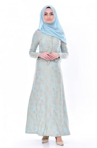 Jakarlı Kuşaklı Elbise 5509-01 Turkuaz