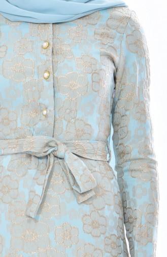 Jakarlı Kuşaklı Elbise 5509-01 Turkuaz 5509-01