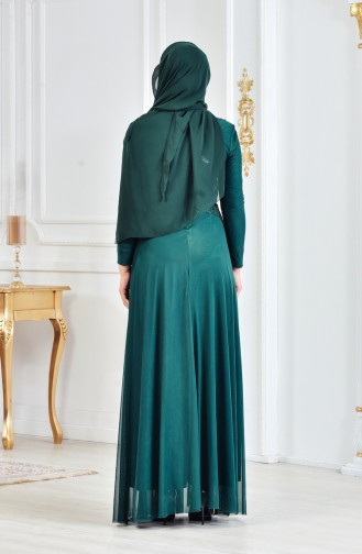 Robe de Soirée avec Pierre 6131-01 Vert emeraude 6131-01