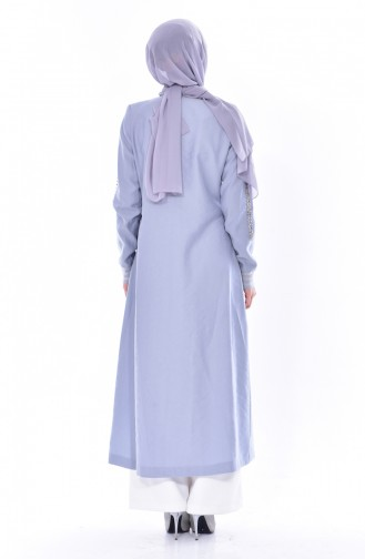 SUKRAN Stone Printed Abaya 35821-03 Light Blue 35821-03