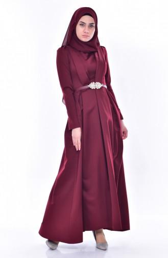 Robe a Ceinture 11182-04 Bordeaux 11182-04