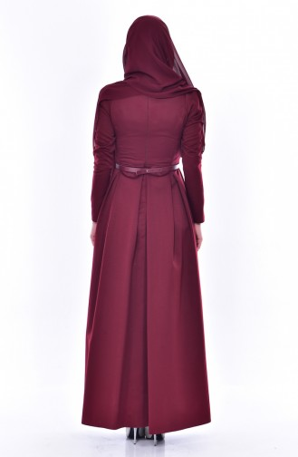 Kleid mit Gürtel 11182-04 Weinrot 11182-04