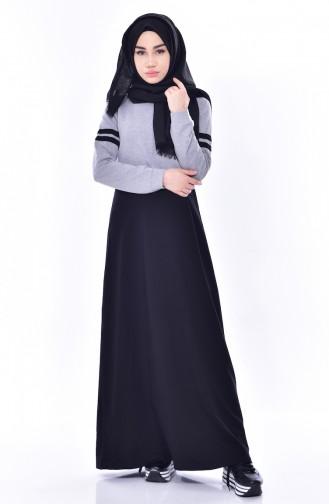 فستان رياضي مُخطط 8162-04 لون رمادي 8162-04