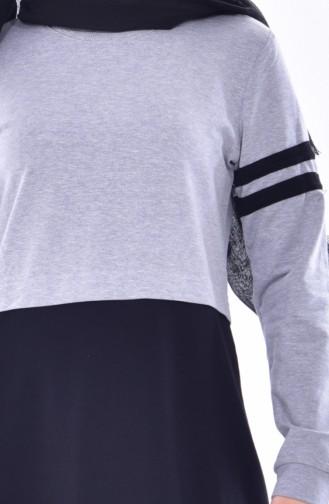 Sport Kleid mit Patchwork 8162-04 Grau 8162-04