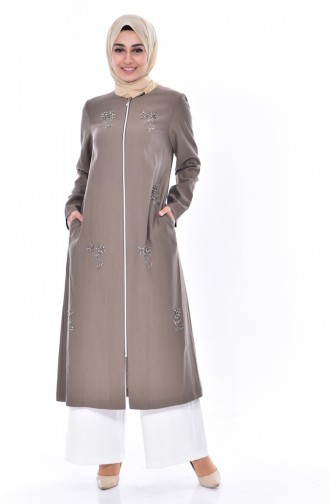 SUKRAN Pearl Zippered Cape 35841-01 Khaki 35841-01
