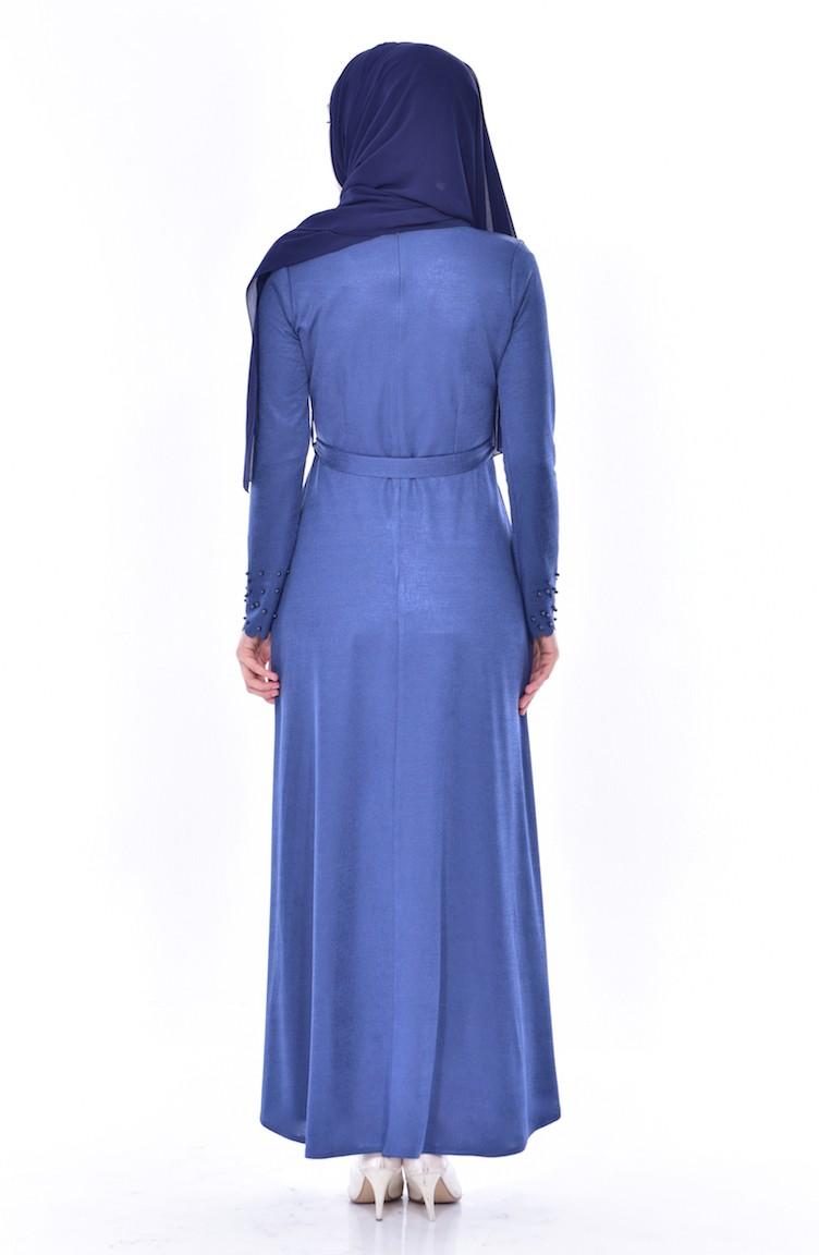 Pearls Belted Dress 1176-01 Indigo 1176-01