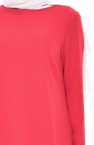 Tunique Asymétrique Pointillée 1031-01 Rouge 1031-01