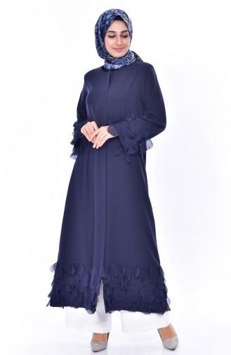 Abaya a Fermeture Garnie 35802-02 Bleu Marine 35802-02