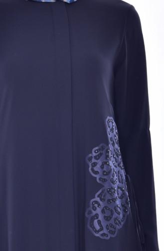 Abaya İmprimée de Pierre 35805-02 Bleu Marine 35805-02