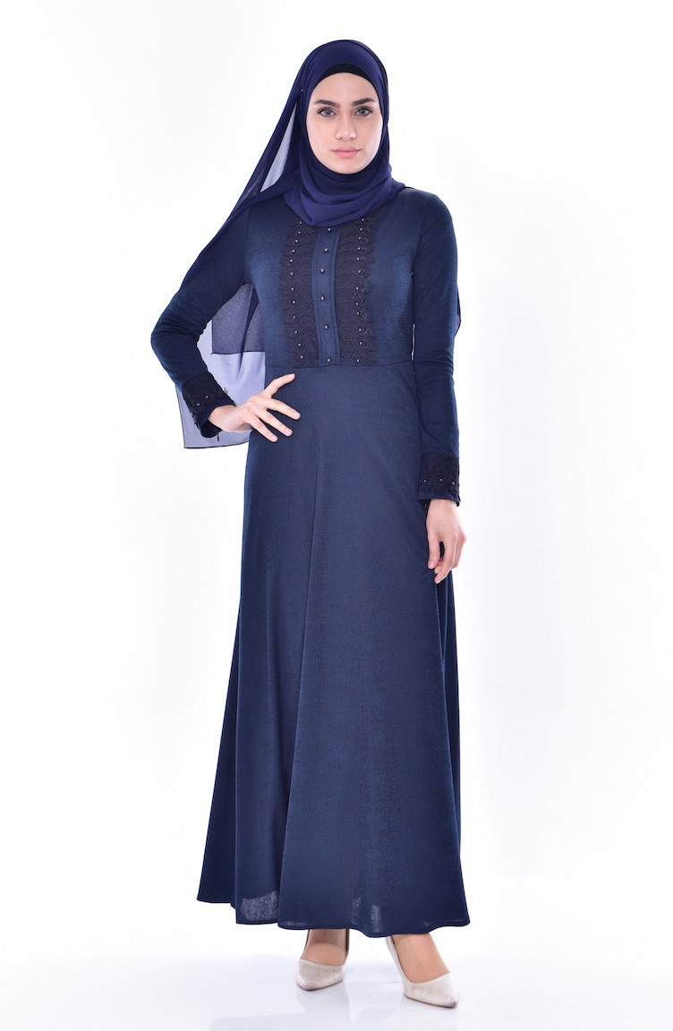 17c3b9667b1 Lace Belted Dress 1179-07 Navy Blue 1179-07