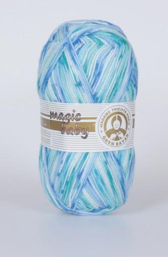 خيوط صوف للحياكة من بيبي ماجيك 3000-402 لون ازرق وبيج فاتح 3000-402