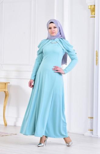 Kolyeli Abiye Elbise 4463-05 Mint Yeşil