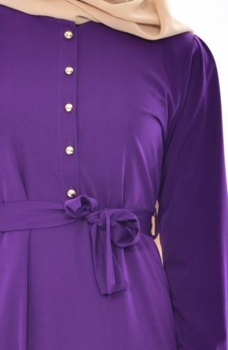 Kleid mit Knöpfen Detail 1159-04 Lila 1159-04