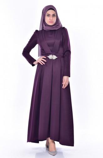 فستان بتصميم حزام للخصر 11182-03 لون بنفسجي 11182-03