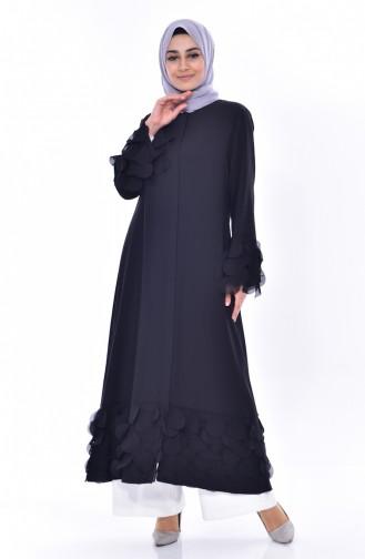 Abaya a Fermeture Garnie 35802-01 Noir 35802-01