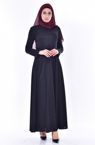 Pearls Belted Dress 1176-07 Black 1176-07