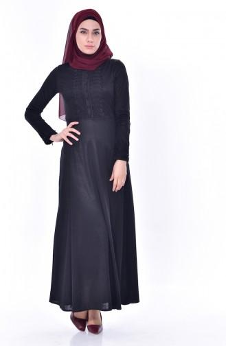 Lace Belted Dress 1179-04 Black 1179-04