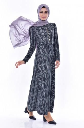 Düğme Detaylı Elbise 0527-04 Siyah