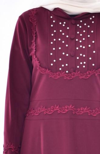 Robe Perlées a Dentelle 9239-04 Bordeaux 9239-04