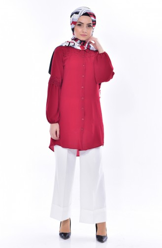 Sleeve Lacy Pearls Tunic 0806-01 Bordeaux 0806-01