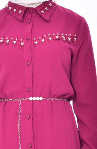 YNS Pearl Belted Tunic 3854-03 Fuchsia 3854-03