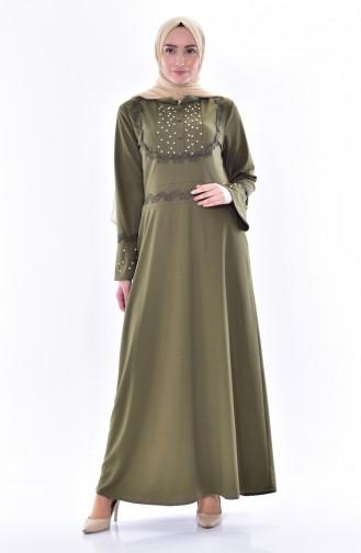 Perlen Kleid mit Spitzen 9239-06 Khaki 9239-06