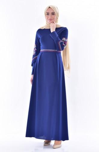 İşlemeli Elbise 0537-02 İndigo