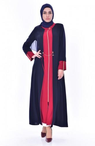 Abaya Garnie a Fermeture 3012-02 Bleu Marine Rouge 3012-02