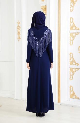 Large Size Tasseled Evening Dress 4004-02 Navy 4004-02