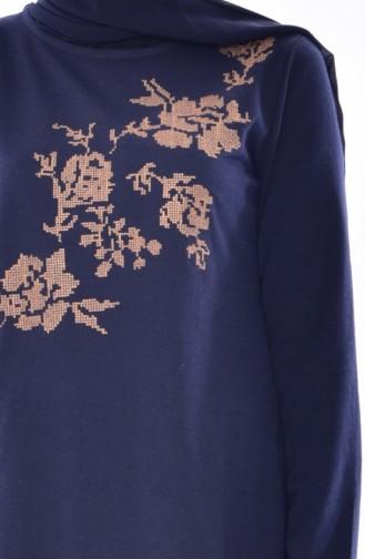 Gekämmte Baumwollen Kleid mit Stickerei 2876-08 Dunkelblau 2876-08