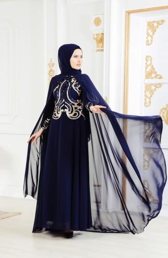 فستان سهرة مزين بالورد 4009-02 لون كحلي 4009-02