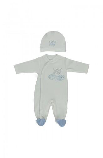 Bebetto Baby Cotton Overalls Side Hidden Button 2 Pcs T1373-MV Blue 1373-MV