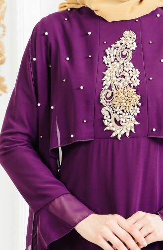 Robe de Soirée Perlées 11152-01 Pourpre 11152-01