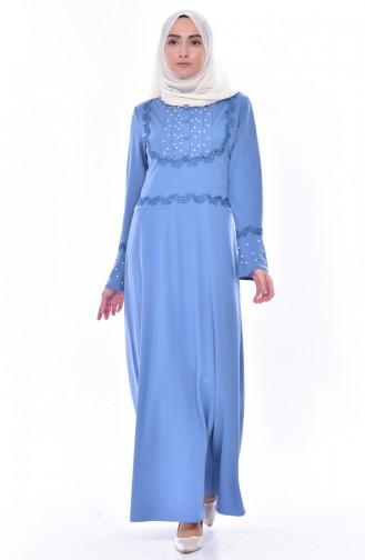 Robe Perlées a Dentelle 9239-07 Bleu 9239-07