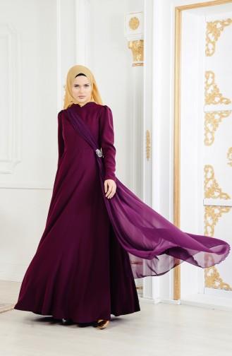 فستان سهرة مُزين ببروش 11178-02 لون ارجواني 11178-02