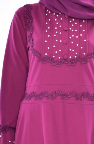 Perlen Kleid mit Spitzen 9239-01 Zwetschge 9239-01