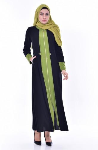 Abaya Garnie a Fermeture 3012-03 Noir Vert Pistache 3012-03