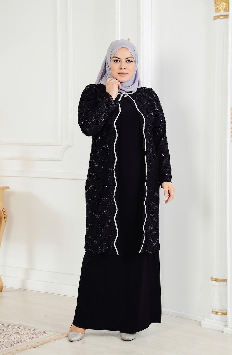 dcedf00d0bec3 Büyük Beden Ceket Elbise Abiye İkili Takım 6135-03 Siyah