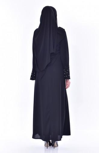 فستان بتفاصيل من اللؤلؤ والدانتيل 9239-05 لون أسود 9239-05