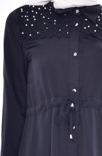 Tunique Perlées Taille Plissée 3853-03 Noir 3853-03
