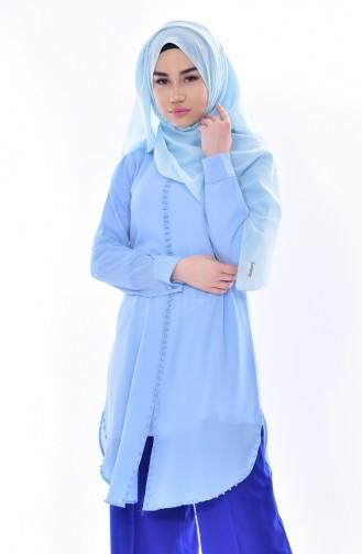 Tunique Perlées Col Bébé 4910-09 Bleu Bébé 4910-09