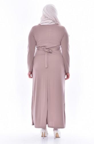 Büyük Beden Çiçekli Elbise 0532-05 Vizon