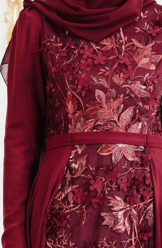 Flower Appliqued Evening Dress 11165-01 Bordeaux 11165-01